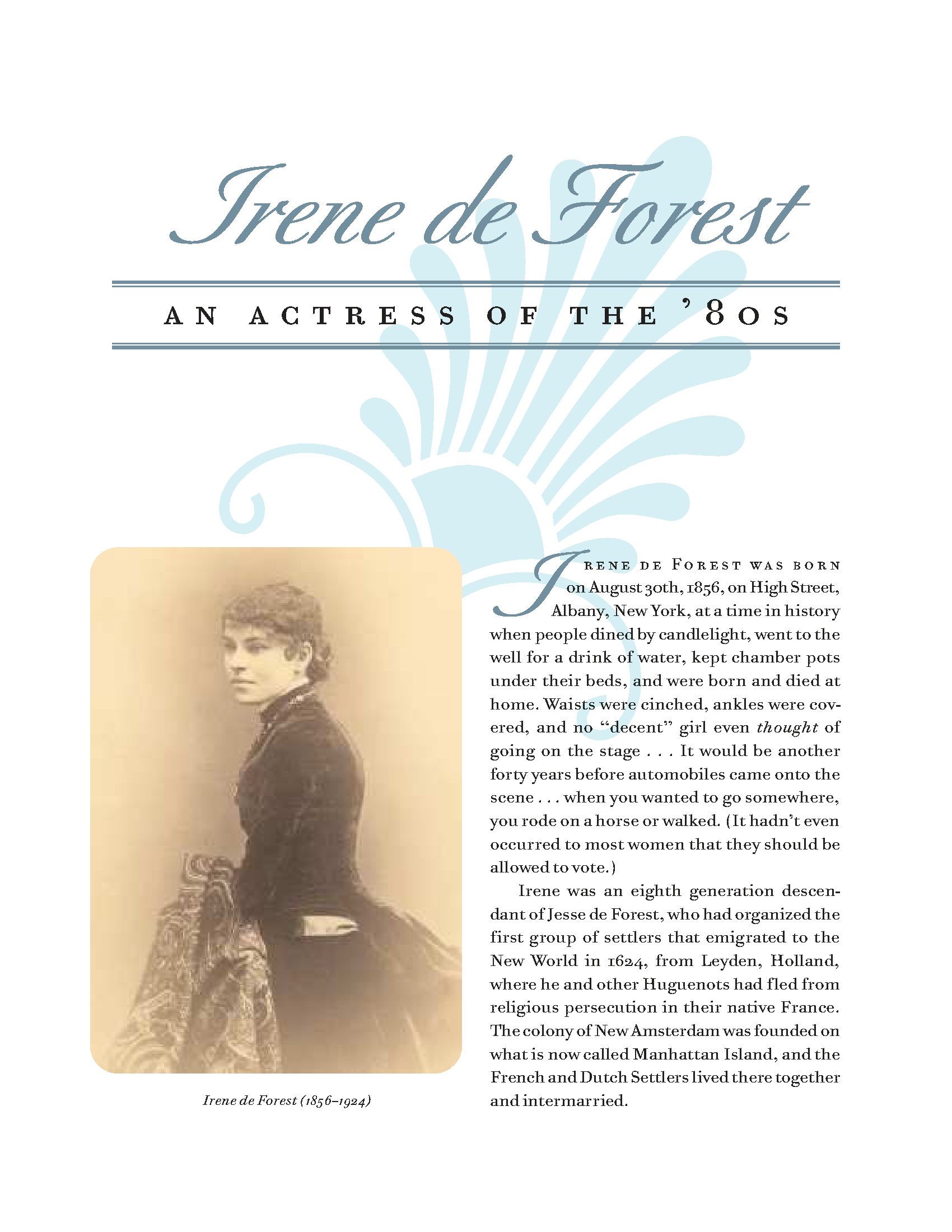 irene de forest an actress of the u002780s cleveland history